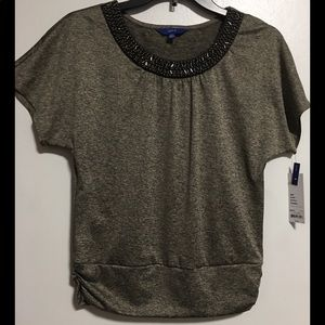 NEW!!! Apt. 9 grey with silver detailed blouse